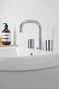 BATHROOM BASIN TAPS, suitable for mounting on a basin with three tapholes.