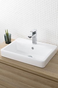 INSET BASINS, for an above counter look. This basin is half under the bench and half above the bench.