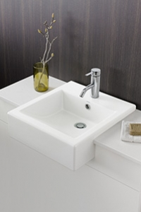 SEMI RECESSED BASINS, overhang the vanity benchtop allowing more bench space space and easier access to the tapware.