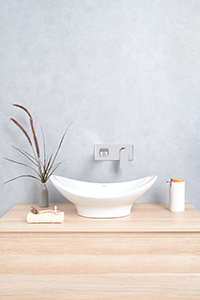 ABOVE COUNTER BASINS, for modern design. This basin is installed on top of the vanity benchtop.