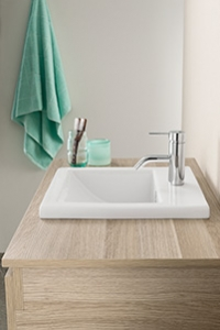 VANITY BASINS, for a traditional look. This basin can be built into a vanity unit or bench, with most of the basin sitting below the bench and a slight lip appearing over the bench.