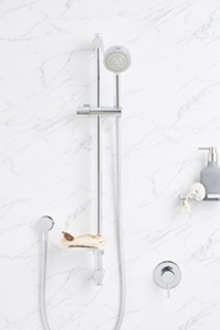 SHOWERS ON RAILS are extremely practical, perfect for a family or couple with varying heights as the shower head can be positioned both at different heights along the rail and different angles.