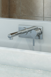 BATH MIXER SETS, wall mounted bath mixer taps including a spout and a mixer. .