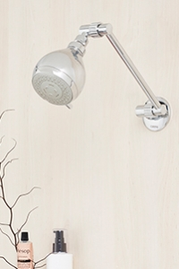 ADJUSTABLE WALL SHOWERS give a neat and stylish look, with the flexibility and practicality of height and angle adjustment.